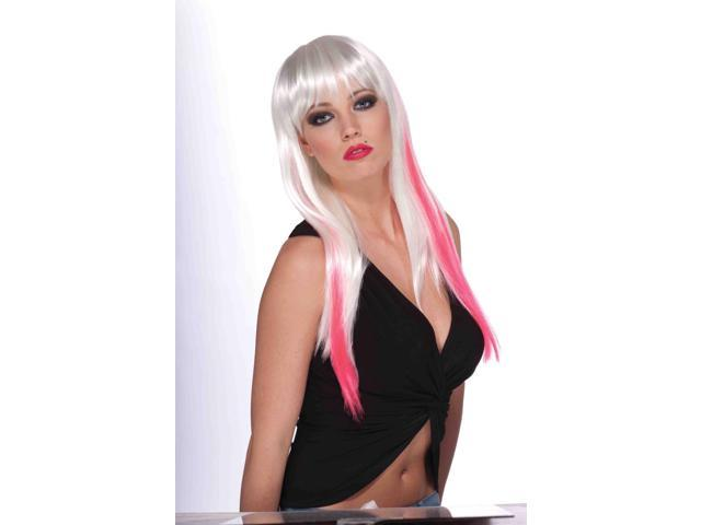 Long White And Neon Pink Adult Punk Rock Costume Wig With Bangs One Size
