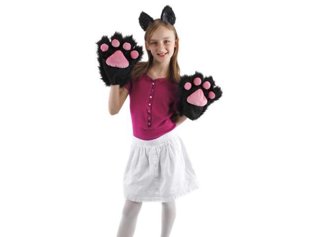 Black & Pink Kitty Paws Costume Gloves Adult One Size