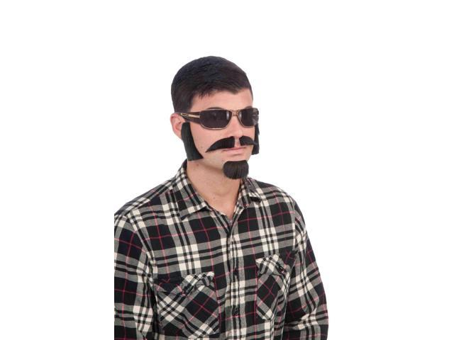 Black Facial Hair Costume Kit With Sideburns, Mustache, And Goatee One Size