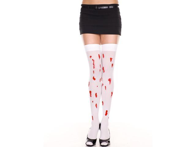 Opaque Thigh Hi Nylon With Faux Blood Drips Costume Hosiery One Size