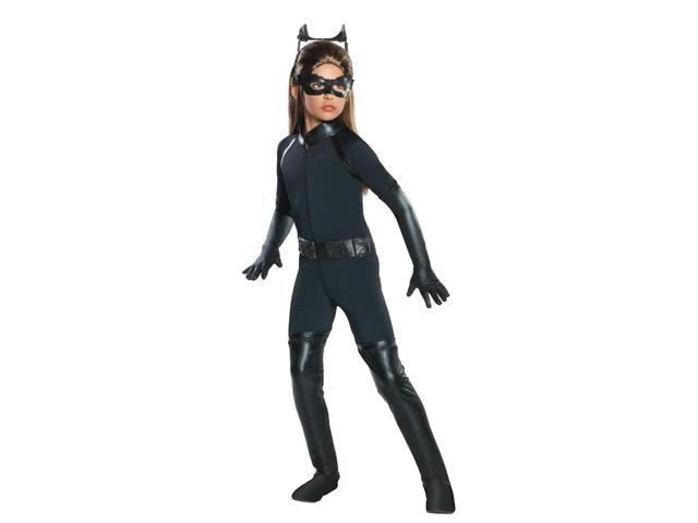 Catwoman Deluxe Jumpsuit & Molded Mask Costume Child Medium 8-10