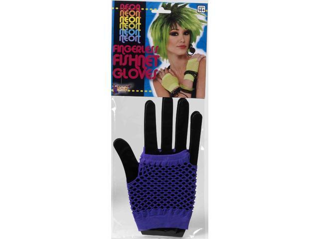 80's Punk Purple Fingerless Fishnet Costume Gloves One Size