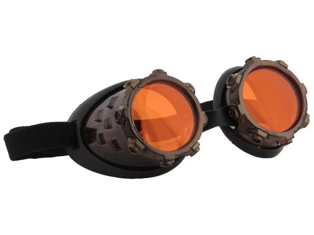 Steampunk CyberSteam Costume Goggles Gold Orange Adult One Size