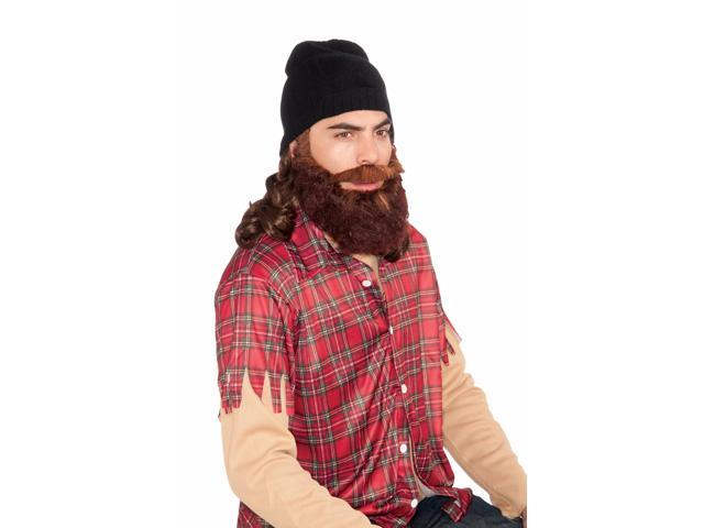 Duck Hunter Costume Beanie W/Attached Brown Wig & Beard Set Adult One Size Fits Most