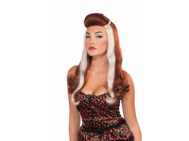 Retro Rock Pin-Up Girl Dixie Costume Wig Adult: Auburn & Blonde One Size
