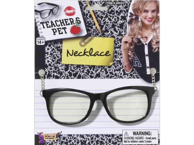 Teacher's Pet Glasses With Chain Costume Necklace One Size