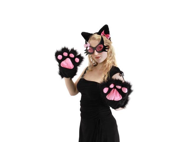 Pretty Kitty Costume Glasses Adult: Black & Pink One Size