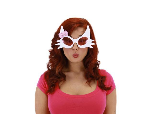 Pretty Kitty Costume Glasses Adult: White & Pink One Size