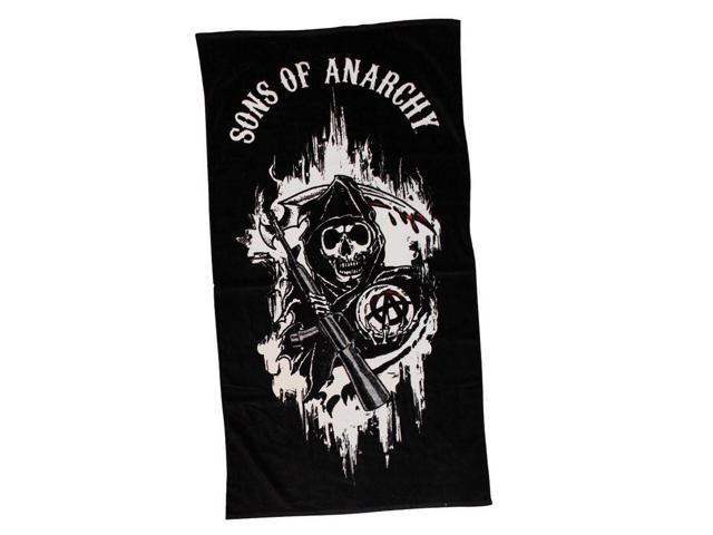 Sons Of Anarchy Black Reaper With Sons Of Anarchy Logo Beach Towel