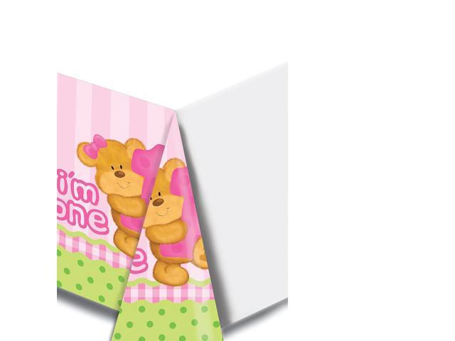 Printed Plastic Tablecover Bear'S First Birthday Girl