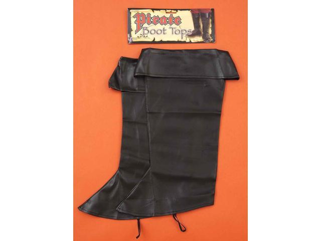Faux Black Leather Pirate Costume Boot Tops Adult One Size