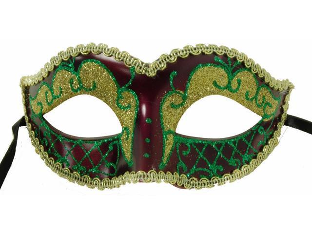 Envy Petite Mardi Gras Costume Mask Green w/Purple One Size