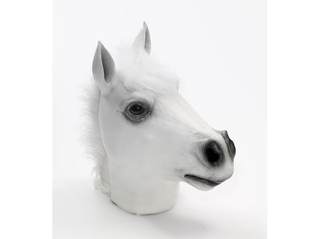 Latex Animal Costume Mask Adult: White Horse One Size