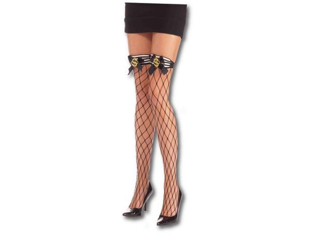 Sexy Gangster Dollar Sign Costume Fishnet Thigh Highs One Size