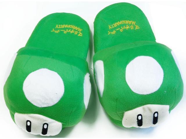 Super Mario Brothers Green Mushroom Plush Slippers