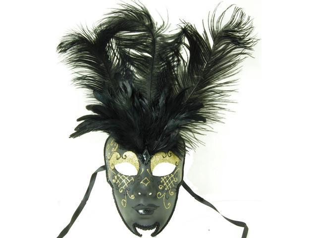 Royal Onyx Feathered Mardi Gras Costume Mask w/Gold Eyebrows One Size