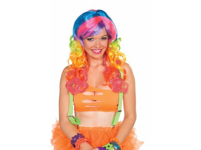 Club Candy Rainbow Swirl Curly Costume Wig Adult One Size