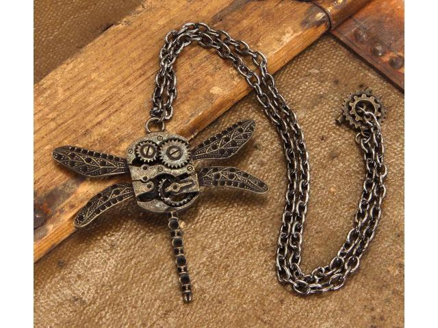 Steampunk Antique Dragonfly Gears Costume Necklace Adult One Size