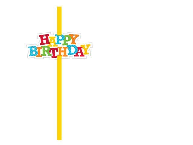Straws With Happy Birthday Attachment 6 Pack Yellow