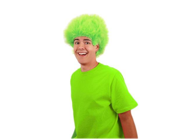 Lime Green Fuzzy Costume Wig Adult One Size