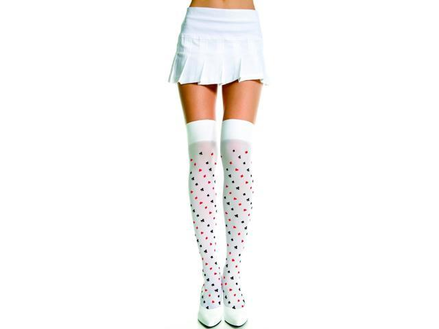 Thigh Hi Nylon Playing Card Suit Print Costume Hosiery One Size