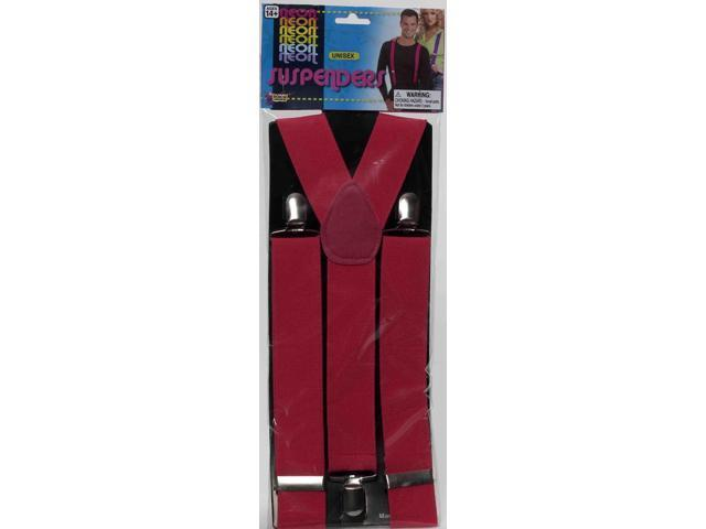Neon Pink Adult Costume Suspenders One Size