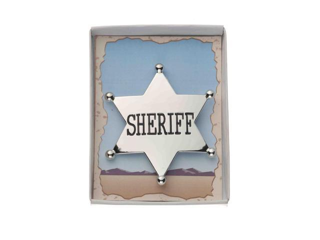 Silver Cowboy Sheriff Badge Costume Accessory One Size
