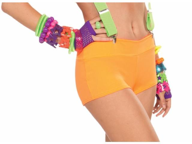 Club Candy Solid Neon Costume Booty Shorts Adult: Orange One Size