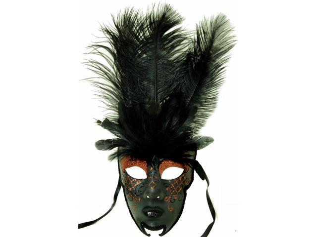 Royal Onyx Feathered Mardi Gras Costume Mask w/Rust Eyebrows One Size