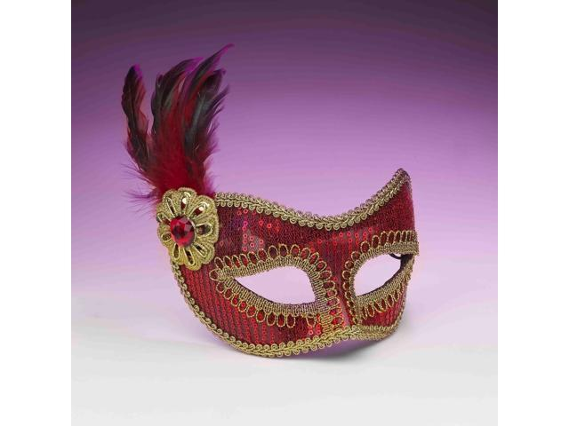 Red And Gold Sequin Costume Fashion Masquerade Mask With Feather One Size