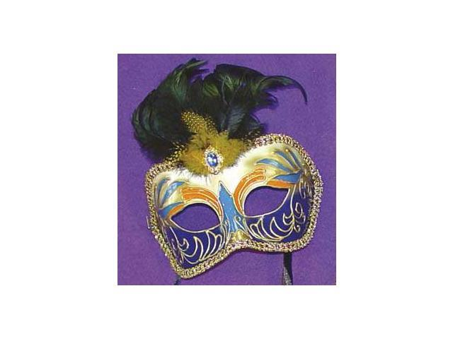 Mystique Eye Venetian, Masquerade, Mardi Gras Mask W/Feathers Style F