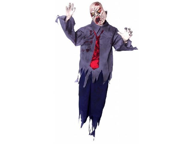 Animated Swinger 5 Foot Hanging Zombie w/Light Up Eyes & Sound Prop