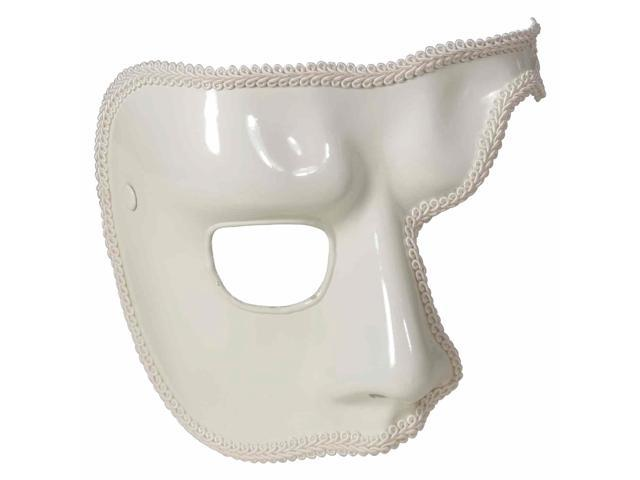 White Phantom Mardi Gras Costume Half-Mask One Size