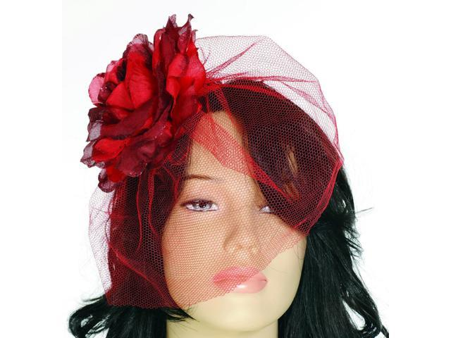 Royal Fascinator Red Flower With Veil Costume Accessory One Size