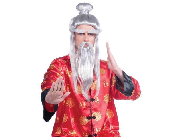 Adult Male White Samurai Costume Wig One Size