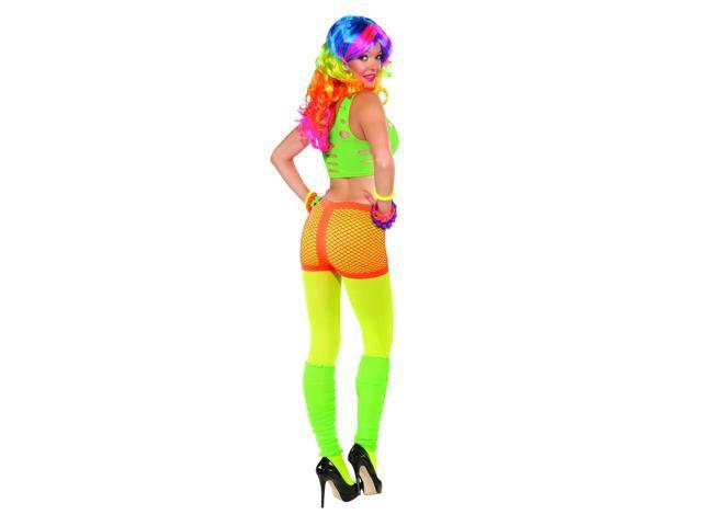 Club Candy Neon Fishnet Costume Boy Shorts Adult: Orange One Size