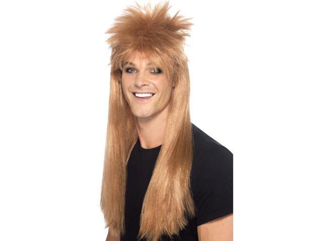 80's Rocker Long Mullet Costume Wig Adult: Brown One Size