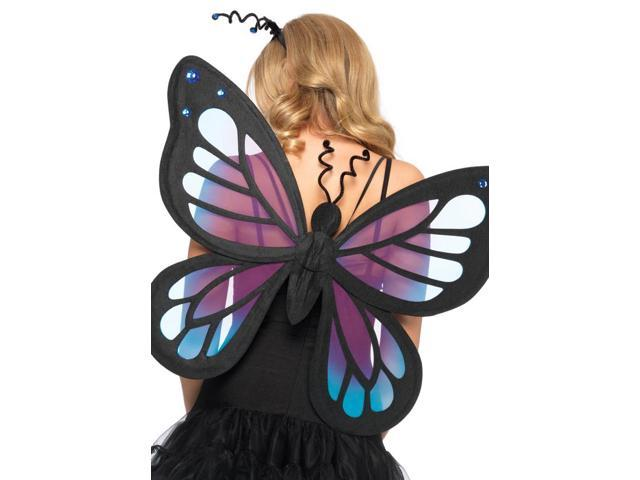 Black & Purple Costume Butterfly Fairy Wings One Size