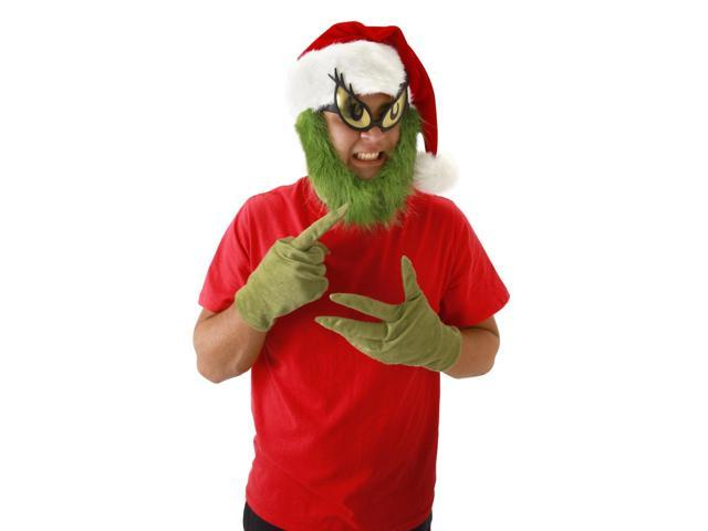 Dr. Seuss The Grinch Costume Santa Hat With Beard One Size