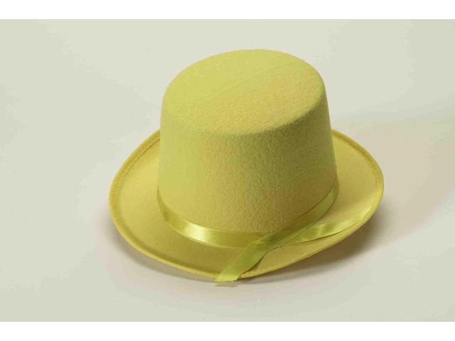 Yellow Felt Adult Costume Top Hat One Size