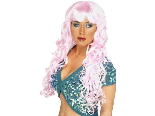 Long Curly Pink Siren Woman's Costume Wig One Size