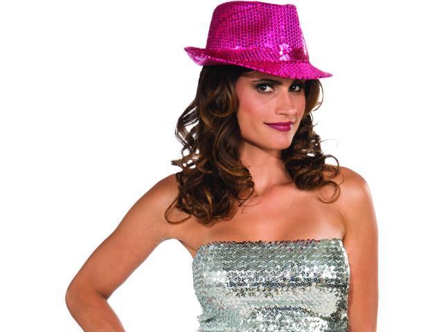 Sequin Fedora Costume Hat Adult: Magenta One Size