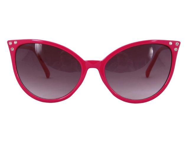 Modern Cat Eye Costume Glasses Adult: Pink & Smoke One Size