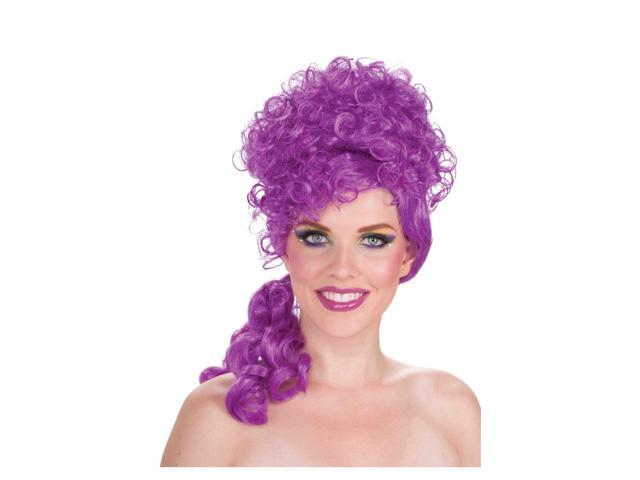 Purple Circus Sweetie Curly Adult Costume Wig One Size