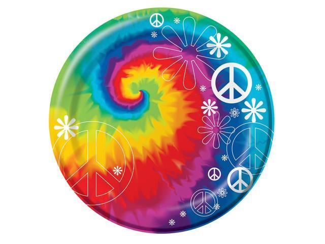 8 Pack 6 7/8 Round Luncheon Plate Tie Dye Fun