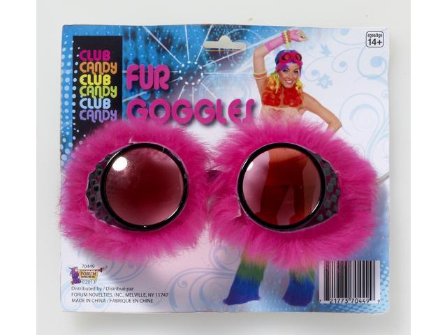 Club Candy Fur Goggles Costume Eyewear Adult: Pink One Size