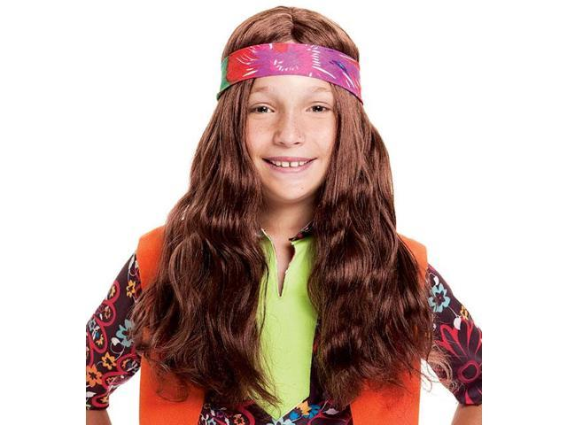 Long Hippie Child Costume Wig One Size