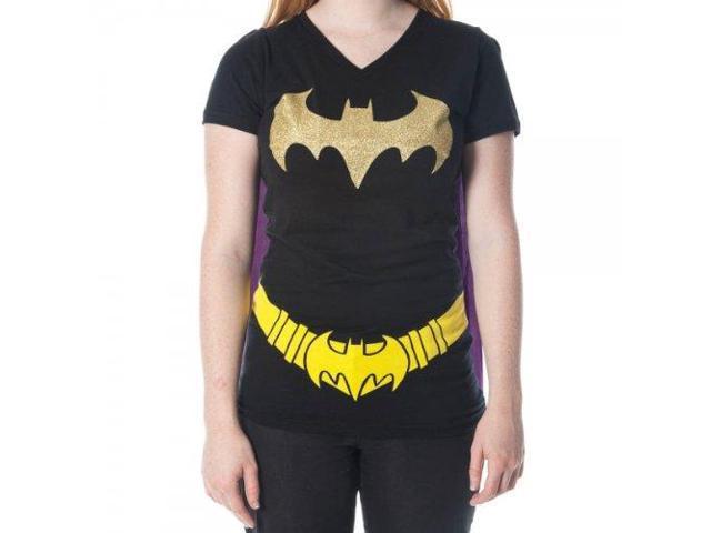 Batman Glittered Logo Juniors Black V-Neck Cape T-Shirt Large