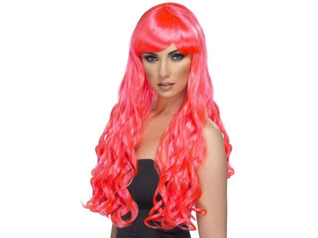 Desire Long Curly Costume Wig Adult Fuchsia One Size