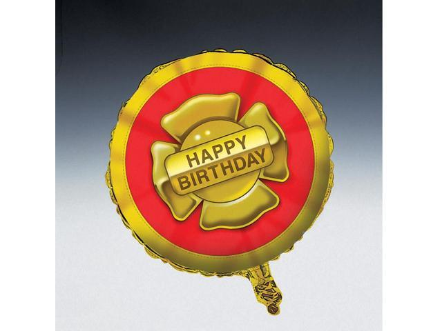 Happy Birthday Round Foil Balloon Firefighter